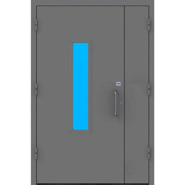 дверь в подъезд с армированным стеклом и сувальдным замком (внутри)-zerkalo