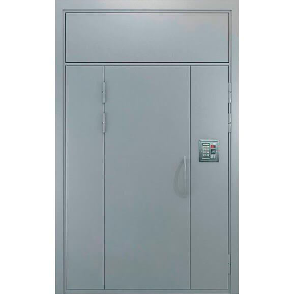 дверь в подъезд с боковыми глухарями и верхней фрамугой-zerkalo
