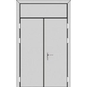 Двухстворчатая дверь с фрамугой сверху (5 к 8) с планкой-zerkalo