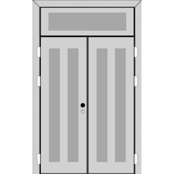Двухстворчатая дверь с фрамугой сверху (5 к 8) — с ручкой-back-z