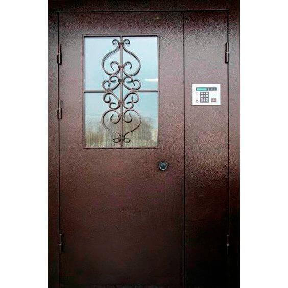 металлическая дверь в подъезд с армированным стеклом (снаружи)-zerkalo