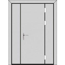 Одностворчатая дверь с боковыми глухарями (3 к 4) с планкой-zerkalo