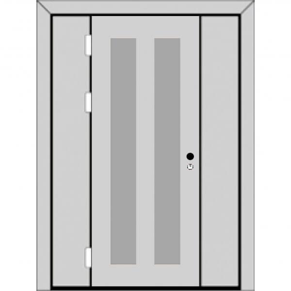 Одностворчатая дверь с боковыми глухарями (3 к 4) с ручкой