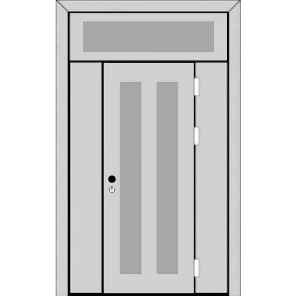 Одностворчатая дверь с боковыми глухарями и верхней фрамугой с ручкой-back-z