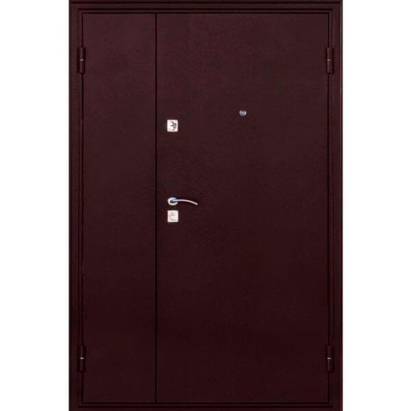 полуторная дверь с покраской красной шагренью-zerkalo