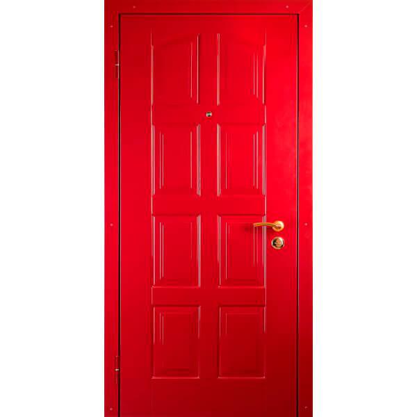 стальая дверь с красной мдф плитой