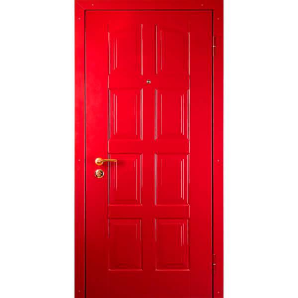 стальая дверь с красной мдф плитой-zerkalo